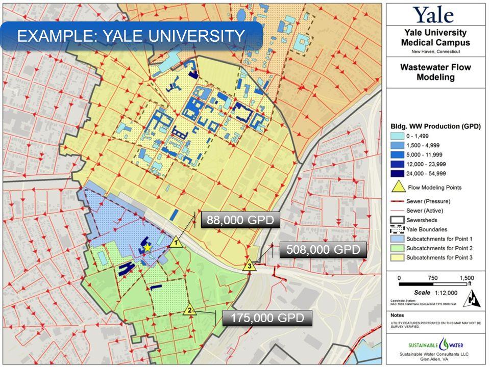 88,000 GPD 175,000 GPD 508,000 GPD EXAMPLE: YALE UNIVERSITY