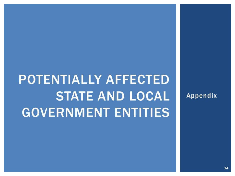 Appendix 14 POTENTIALLY AFFECTED STATE AND LOCAL GOVERNMENT ENTITIES
