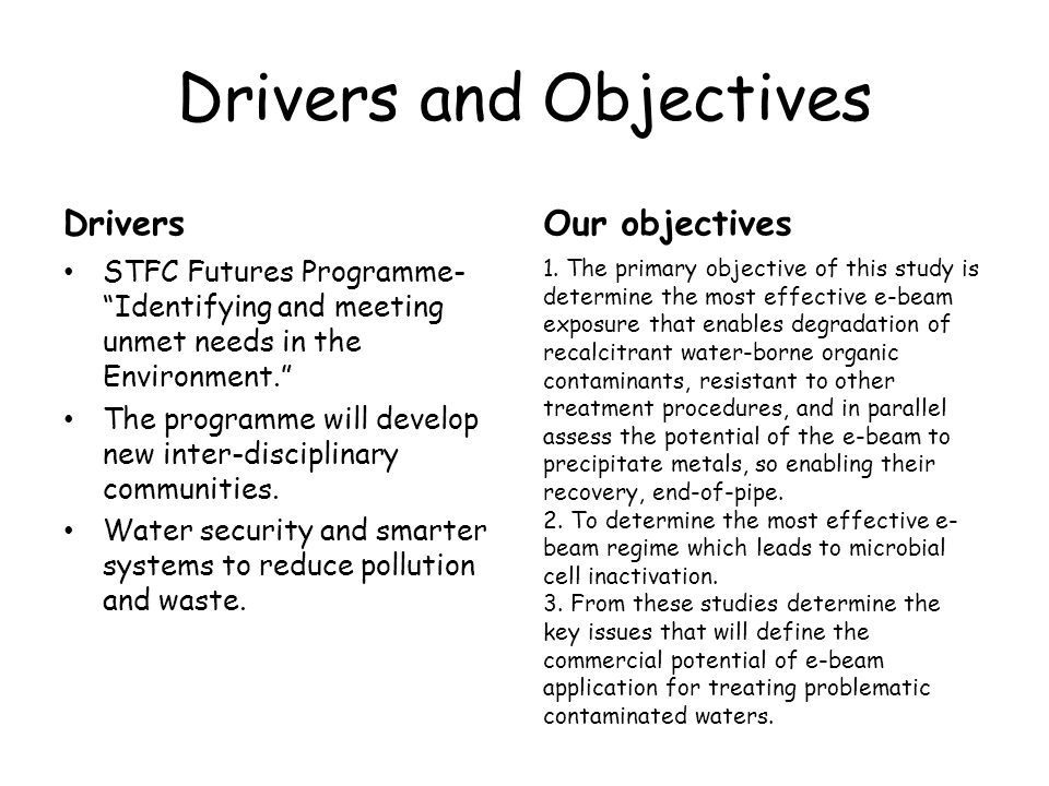 Drivers and Objectives Drivers STFC Futures Programme- Identifying and meeting unmet needs in the Environment. The programme will develop new inter-disciplinary communities.