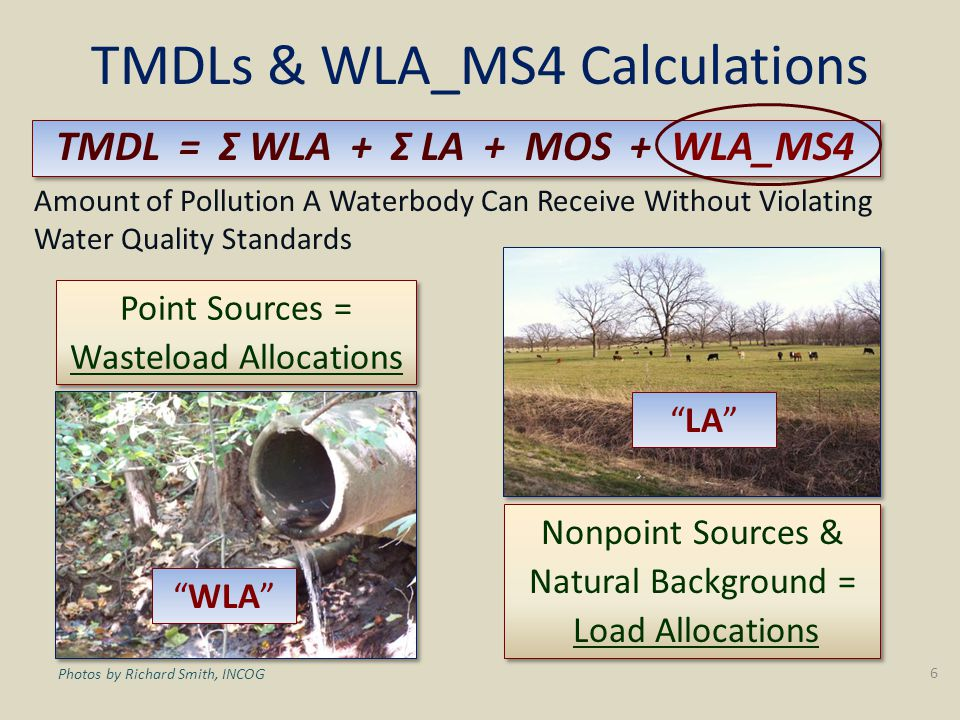 TMDLs & WLA_MS4 Calculations TMDL = Σ WLA + Σ LA + MOS + WLA_MS4 Amount of Pollution A Waterbody Can Receive Without Violating Water Quality Standards Point Sources = Wasteload Allocations Point Sources = Wasteload Allocations Nonpoint Sources & Natural Background = Load Allocations Nonpoint Sources & Natural Background = Load Allocations WLA LA 6 Photos by Richard Smith, INCOG