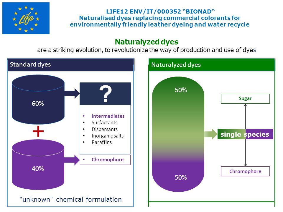 Naturalyzed dyes are a striking evolution, to revolutionize the way of production and use of dyes Standard dyes Naturalyzed dyes 40% 60% Intermediates Surfactants Dispersants Inorganic salts Paraffins Chromophore Sugar unknown chemical formulation single species LIFE12 ENV/IT/000352 BIONAD Naturalised dyes replacing commercial colorants for environmentally friendly leather dyeing and water recycle 50%