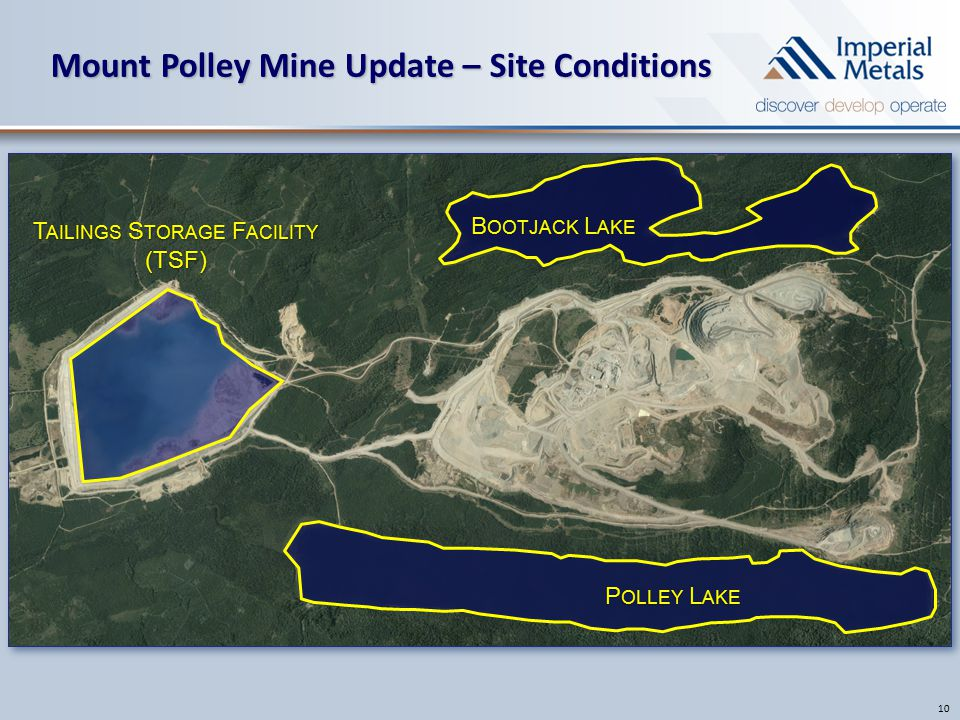 Mount Polley Mine Update – Site Conditions 10 B OOTJACK L AKE P OLLEY L AKE T AILINGS S TORAGE F ACILITY (TSF)