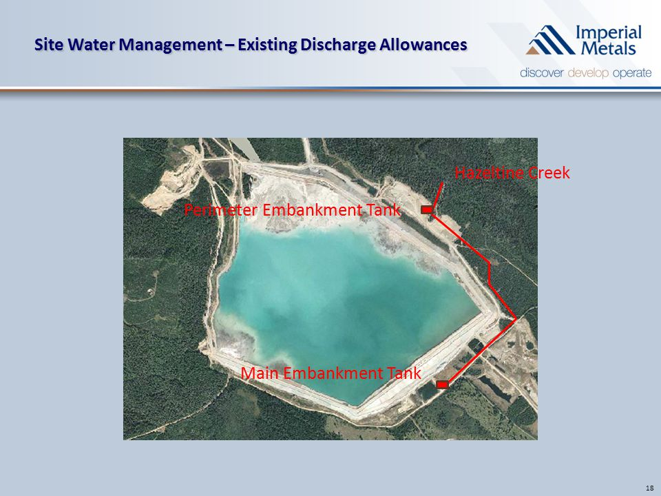 Site Water Management – Existing Discharge Allowances 18 Hazeltine Creek Main Embankment Tank Perimeter Embankment Tank