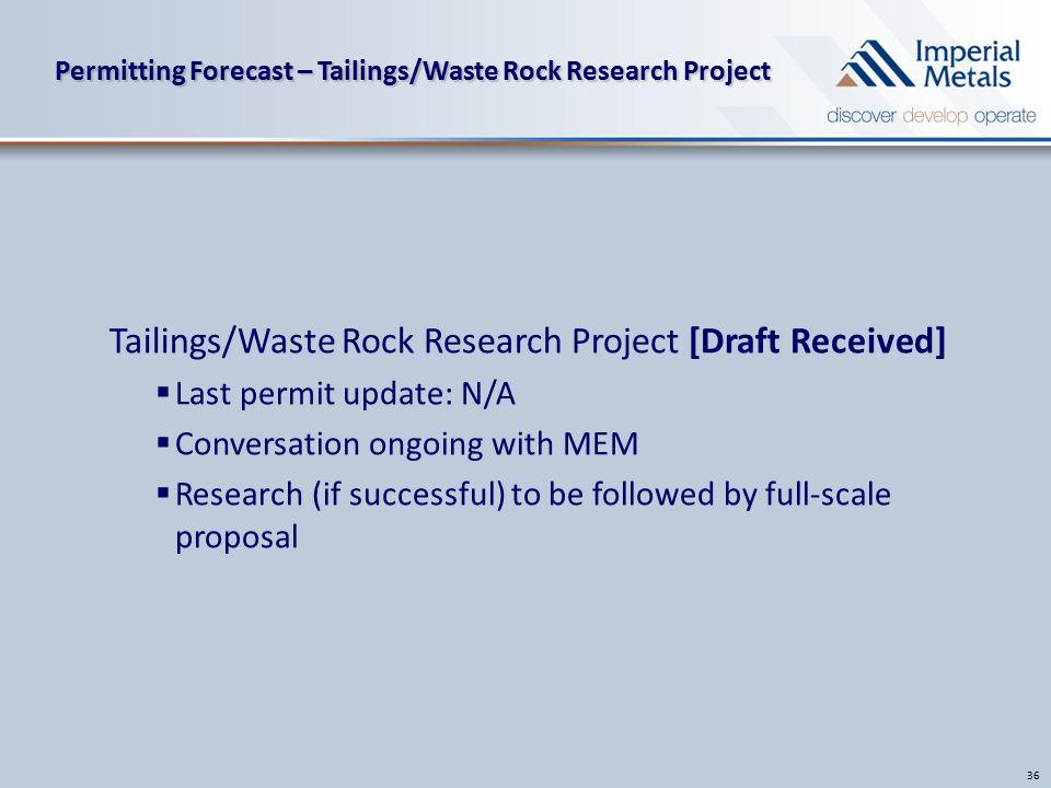 Permitting Forecast – Tailings/Waste Rock Research Project 36 Tailings/Waste Rock Research Project [Draft Received]  Last permit update: N/A  Conversation ongoing with MEM  Research (if successful) to be followed by full-scale proposal