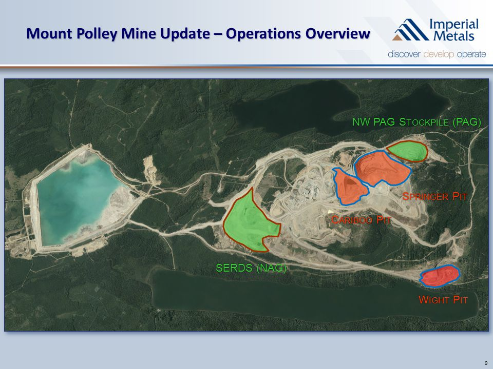 Mount Polley Mine Update – Operations Overview 9 NW PAG S TOCKPILE (PAG) SERDS (NAG) S PRINGER P IT C ARIBOO P IT W IGHT P IT