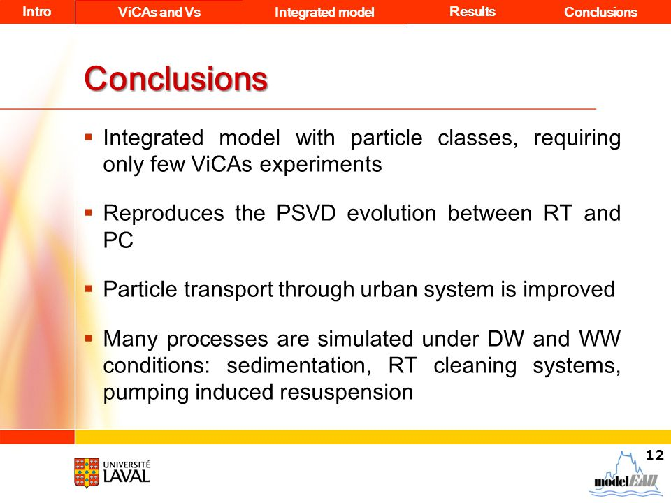 Conclusions  Integrated model with particle classes, requiring only few ViCAs experiments  Reproduces the PSVD evolution between RT and PC  Particl