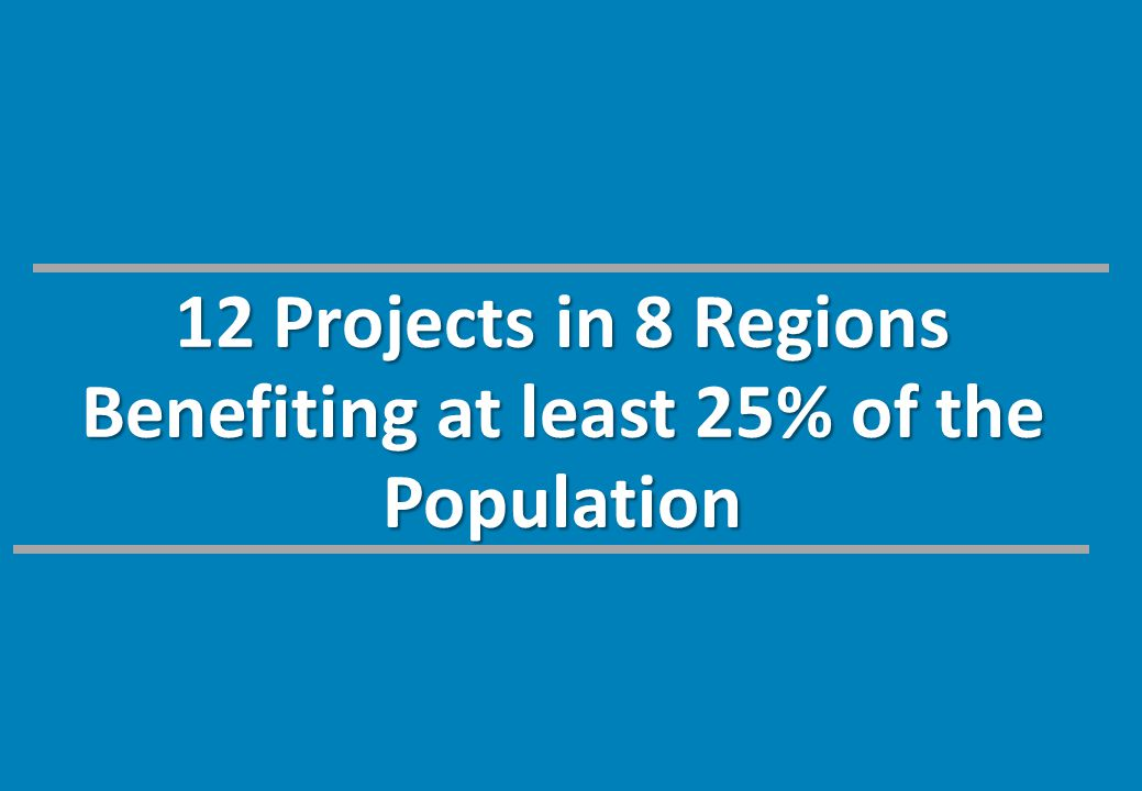 12 Projects in 8 Regions Benefiting at least 25% of the Population