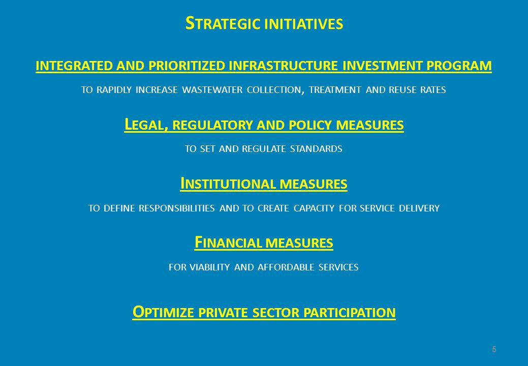 S TRATEGIC INITIATIVES INTEGRATED AND PRIORITIZED INFRASTRUCTURE INVESTMENT PROGRAM TO RAPIDLY INCREASE WASTEWATER COLLECTION, TREATMENT AND REUSE RATES L EGAL, REGULATORY AND POLICY MEASURES TO SET AND REGULATE STANDARDS I NSTITUTIONAL MEASURES TO DEFINE RESPONSIBILITIES AND TO CREATE CAPACITY FOR SERVICE DELIVERY F INANCIAL MEASURES FOR VIABILITY AND AFFORDABLE SERVICES O PTIMIZE PRIVATE SECTOR PARTICIPATION 5