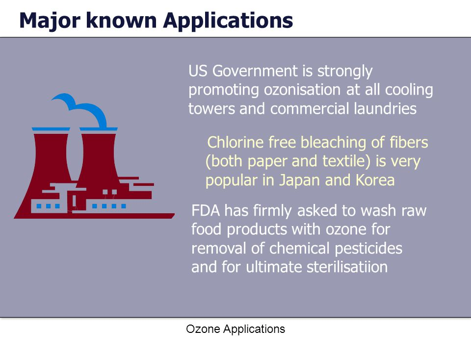 Ozone Applications Major known Applications US Government is strongly promoting ozonisation at all cooling towers and commercial laundries Chlorine free bleaching of fibers (both paper and textile) is very popular in Japan and Korea FDA has firmly asked to wash raw food products with ozone for removal of chemical pesticides and for ultimate sterilisatiion