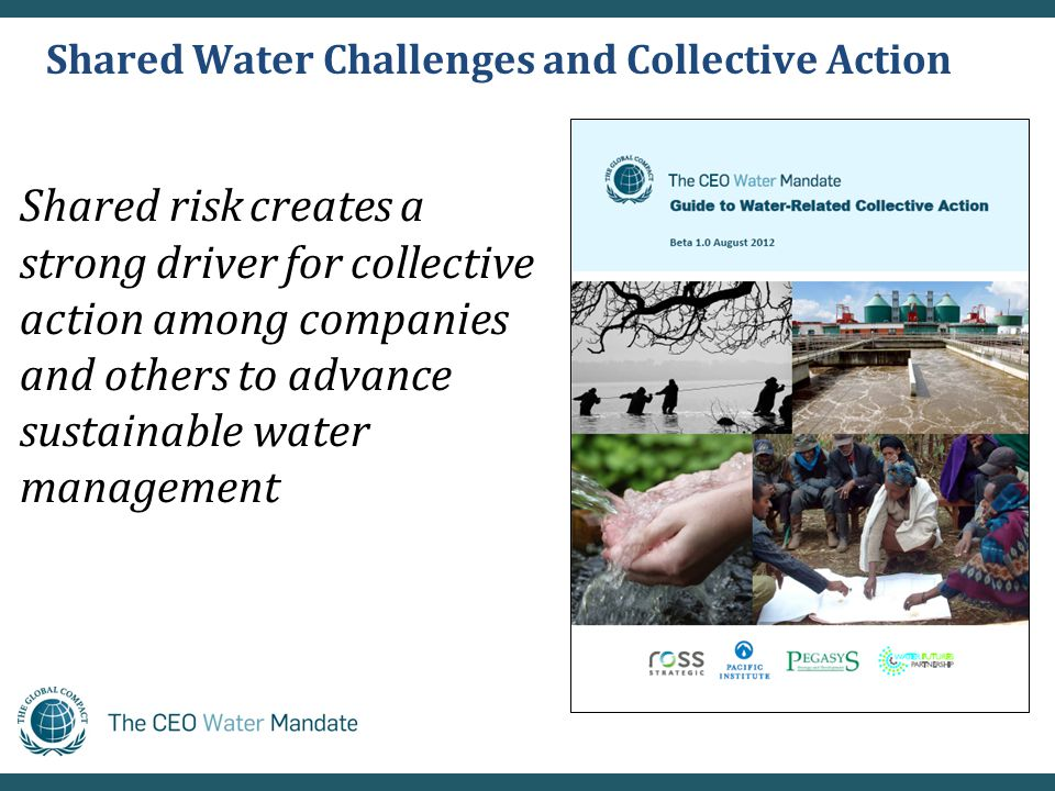 Shared Water Challenges and Collective Action Shared risk creates a strong driver for collective action among companies and others to advance sustainable water management