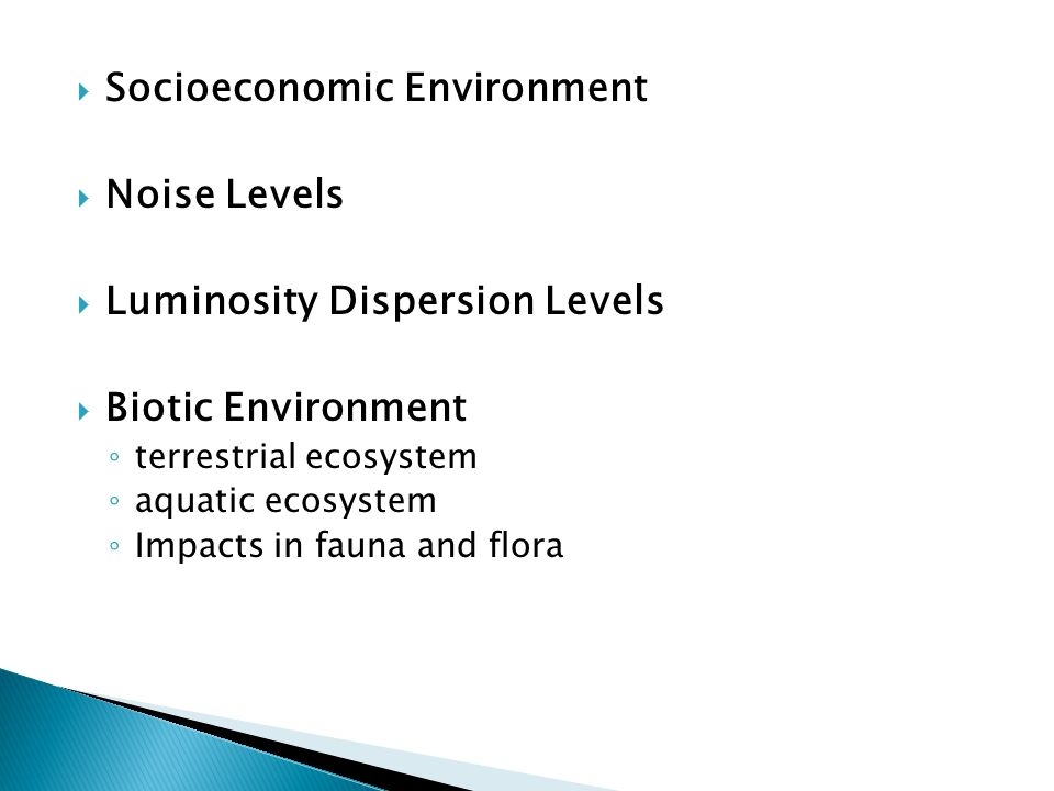  Socioeconomic Environment  Noise Levels  Luminosity Dispersion Levels  Biotic Environment ◦ terrestrial ecosystem ◦ aquatic ecosystem ◦ Impacts in fauna and flora