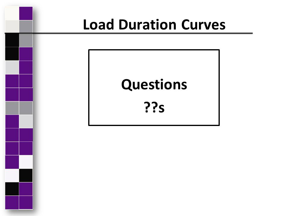 Questions ??s Load Duration Curves