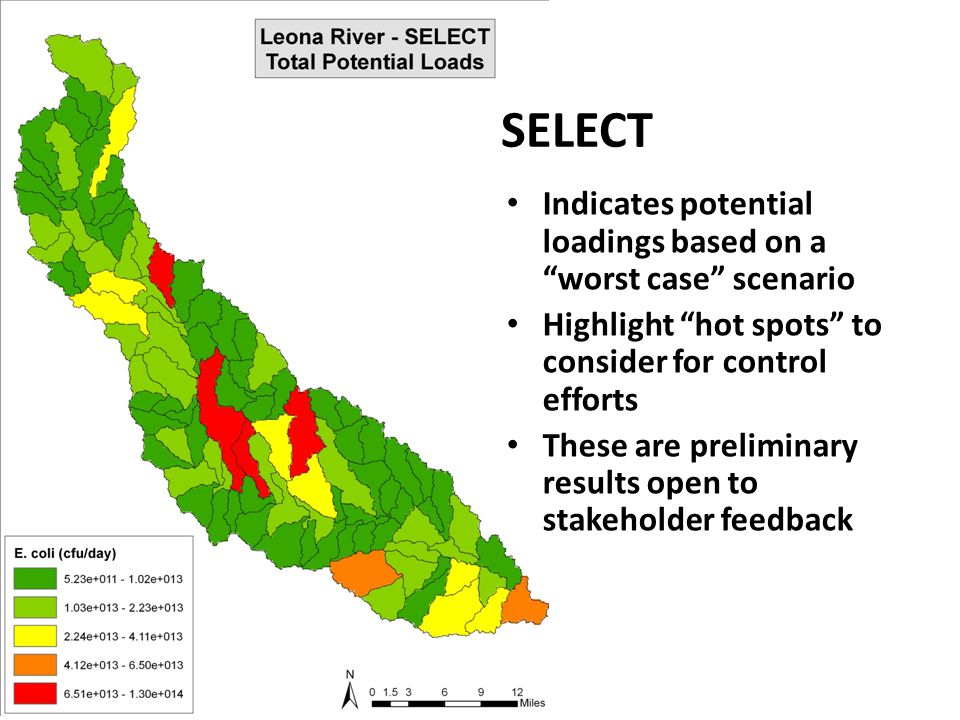 "SELECT Indicates potential loadings based on a ""worst case"" scenario Highlight ""hot spots"" to consider for control efforts These are preliminary resul"