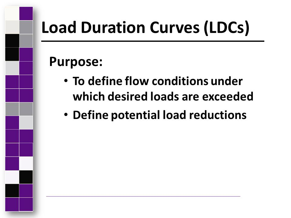 Load Duration Curves LDCs use the following: Daily stream flow data Allowable or desired concentration Measured concentrations and flows