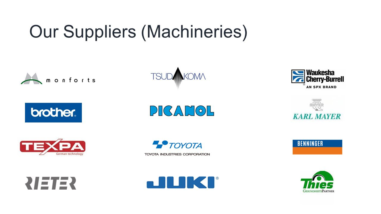 Our Suppliers (Machineries)