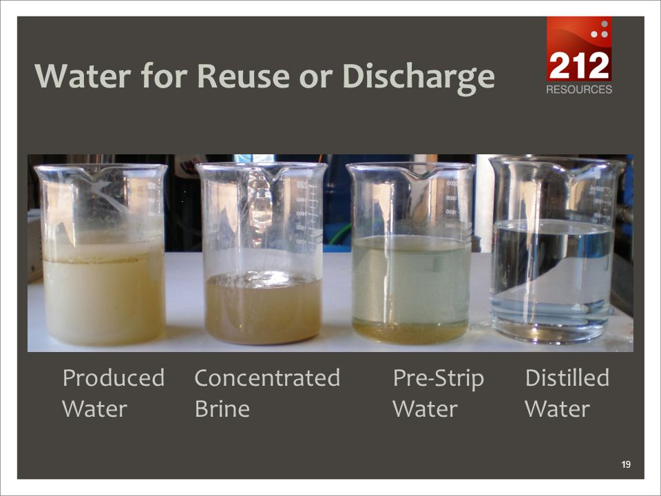 19 Water for Reuse or Discharge ProducedConcentratedPre-StripDistilled WaterBrineWaterWater