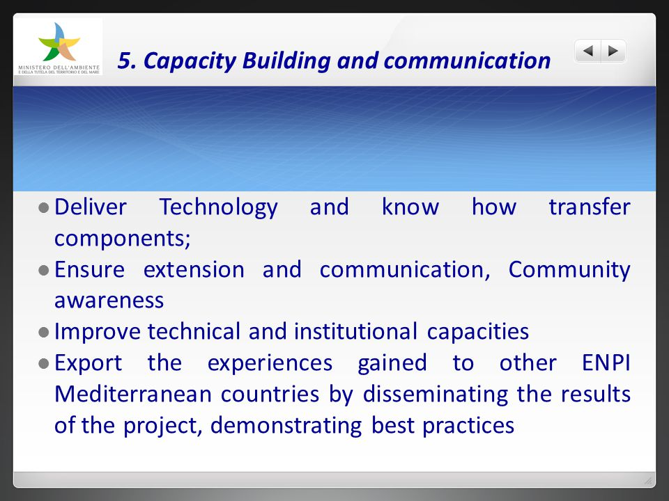 5. Capacity Building and communication Deliver Technology and know how transfer components; Ensure extension and communication, Community awareness Im