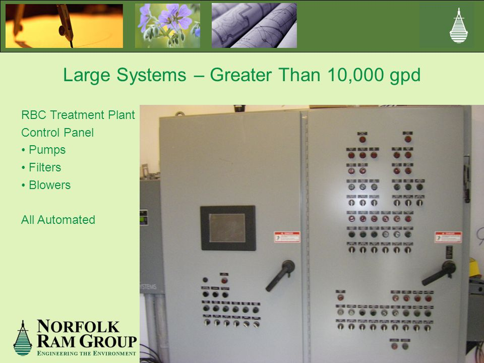 Large Systems – Greater Than 10,000 gpd RBC Treatment Plant Control Panel Pumps Filters Blowers All Automated