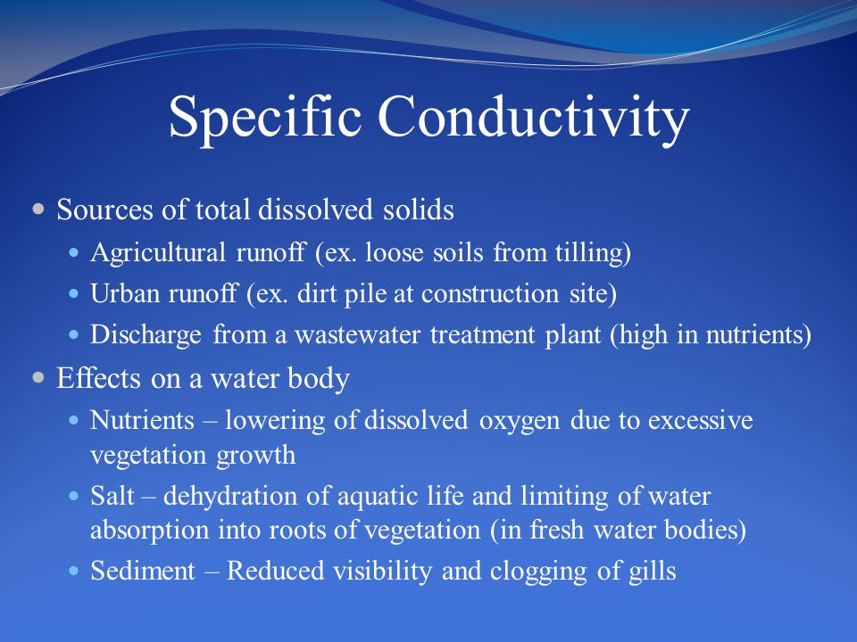 Specific Conductivity Sources of total dissolved solids Agricultural runoff (ex.
