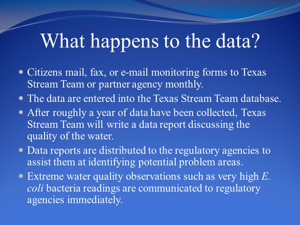 What happens to the data? Citizens mail, fax, or e-mail monitoring forms to Texas Stream Team or partner agency monthly. The data are entered into the
