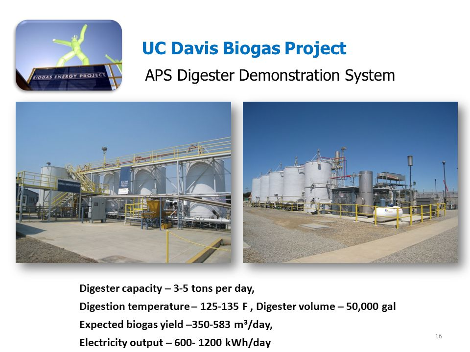 APS Digester Demonstration System 16 UC Davis Biogas Project Digester capacity – 3-5 tons per day, Digestion temperature – 125-135 F, Digester volume – 50,000 gal Expected biogas yield –350-583 m 3 /day, Electricity output – 600- 1200 kWh/day