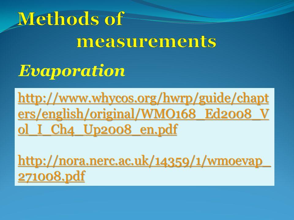 Evaporation http://www.whycos.org/hwrp/guide/chapt ers/english/original/WMO168_Ed2008_V ol_I_Ch4_Up2008_en.pdf http://www.whycos.org/hwrp/guide/chapt ers/english/original/WMO168_Ed2008_V ol_I_Ch4_Up2008_en.pdf http://nora.nerc.ac.uk/14359/1/wmoevap_ 271008.pdf http://nora.nerc.ac.uk/14359/1/wmoevap_ 271008.pdf