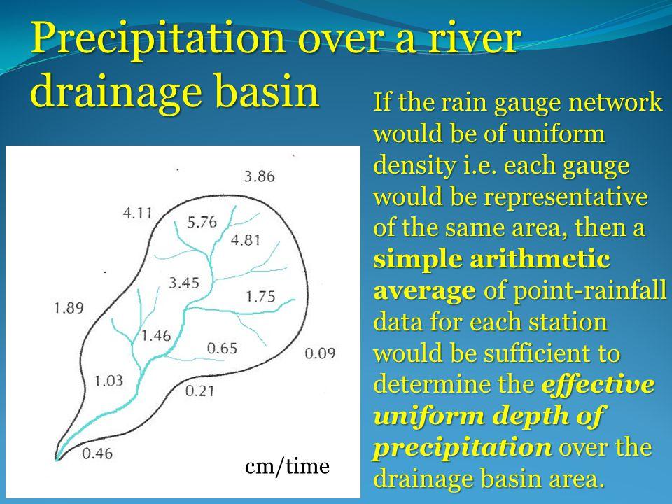 Precipitation over a river drainage basin cm/time If the rain gauge network would be of uniform density i.e.
