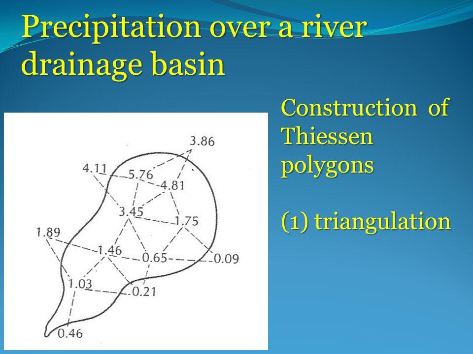Precipitation over a river drainage basin Construction of Thiessen polygons (1) triangulation
