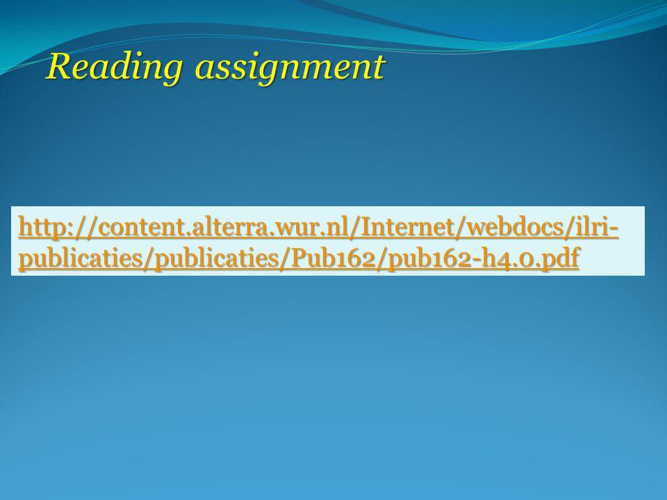 http://content.alterra.wur.nl/Internet/webdocs/ilri- publicaties/publicaties/Pub162/pub162-h4.0.pdf http://content.alterra.wur.nl/Internet/webdocs/ilri- publicaties/publicaties/Pub162/pub162-h4.0.pdf Reading assignment