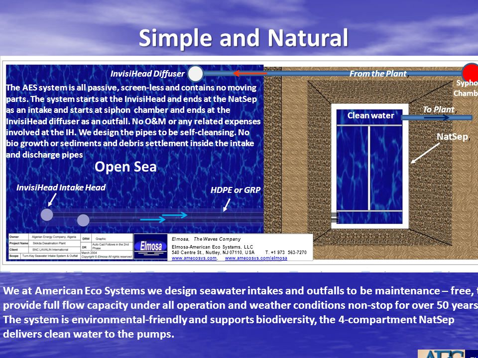 Simple and Natural We at American Eco Systems we design seawater intakes and outfalls to be maintenance – free, to provide full flow capacity under al