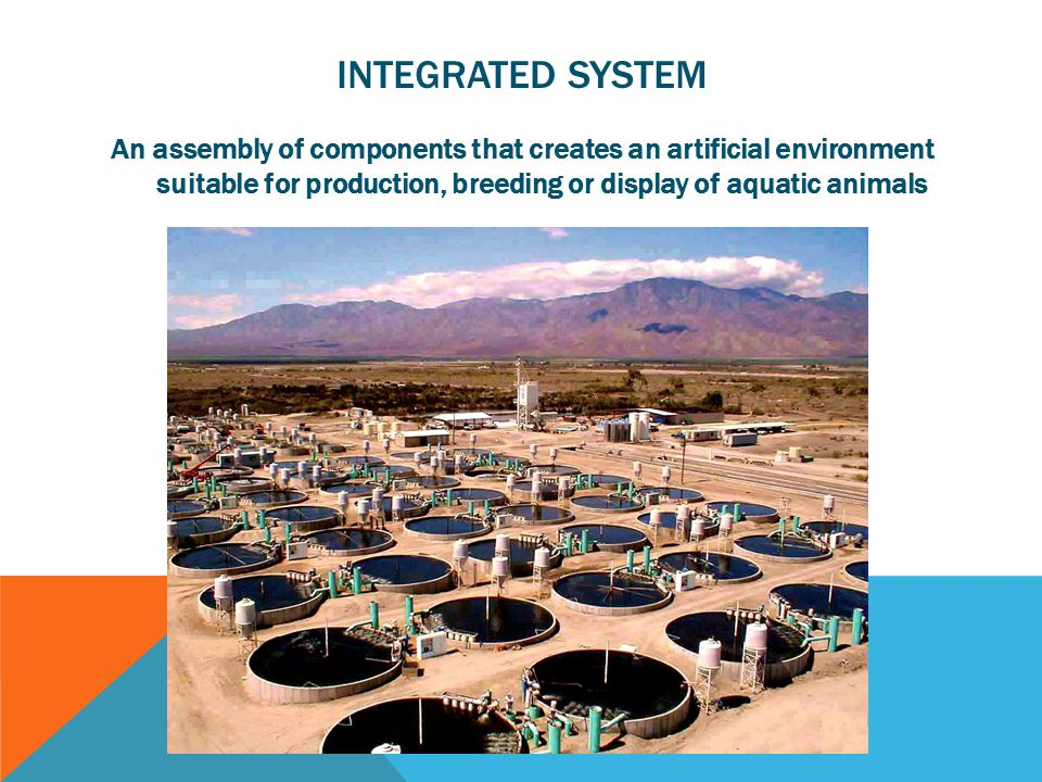 INTEGRATED SYSTEM An assembly of components that creates an artificial environment suitable for production, breeding or display of aquatic animals