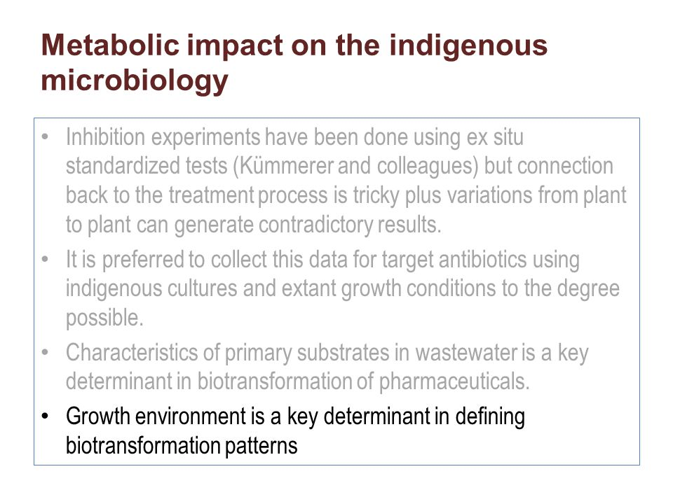 Metabolic impact on the indigenous microbiology Inhibition experiments have been done using ex situ standardized tests (Kümmerer and colleagues) but c