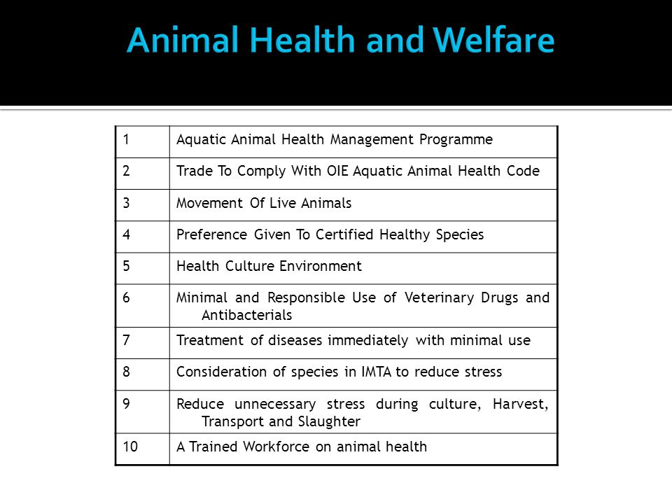 1Aquatic Animal Health Management Programme 2Trade To Comply With OIE Aquatic Animal Health Code 3Movement Of Live Animals 4Preference Given To Certified Healthy Species 5Health Culture Environment 6Minimal and Responsible Use of Veterinary Drugs and Antibacterials 7Treatment of diseases immediately with minimal use 8Consideration of species in IMTA to reduce stress 9Reduce unnecessary stress during culture, Harvest, Transport and Slaughter 10A Trained Workforce on animal health