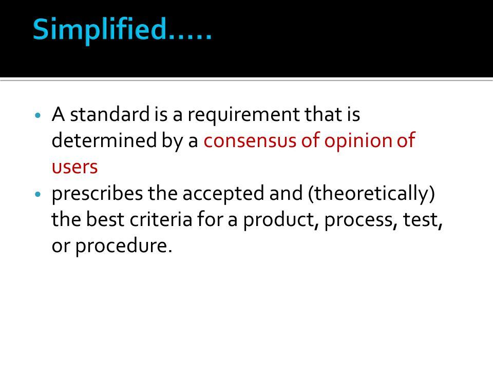  Principles and Objectives  Protocols and Criteria  Indicators of performance  Minimum Standards (the bar) for indicators  Measurement criteria