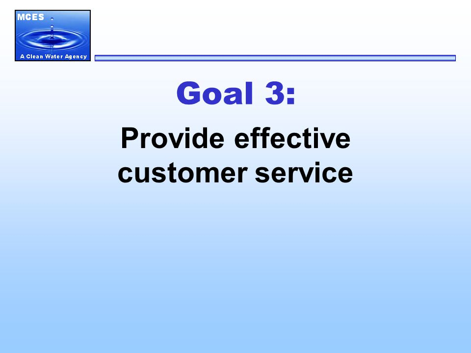 Goal 3: Provide effective customer service