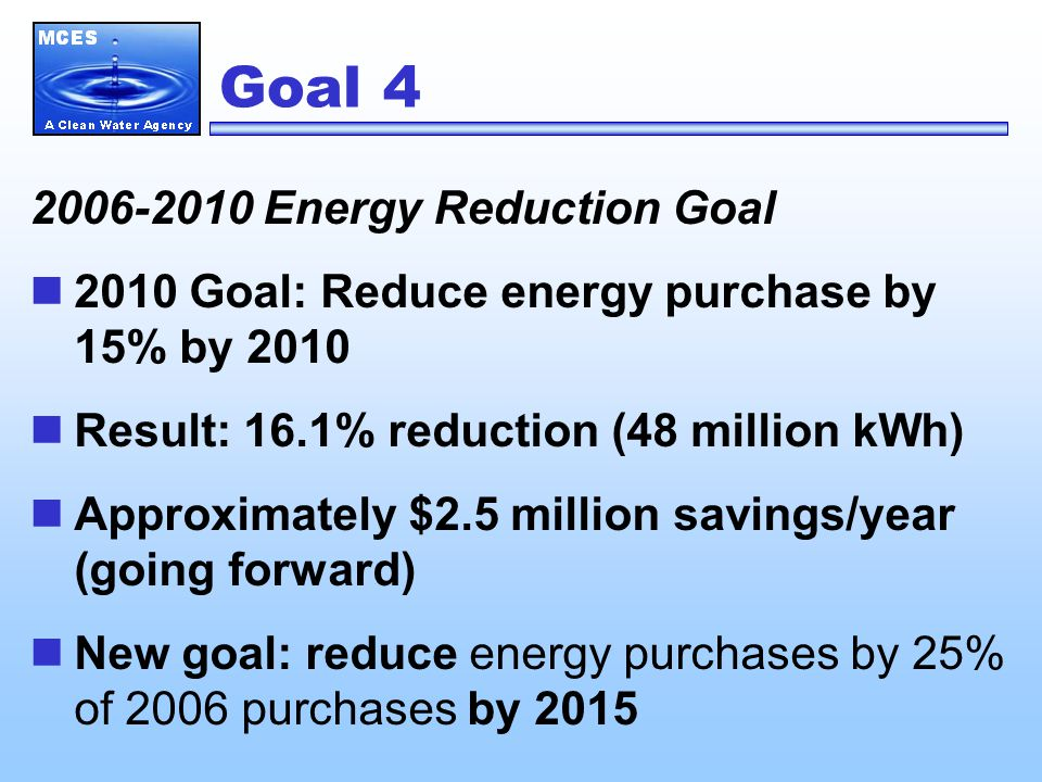 Goal 4 2006-2010 Energy Reduction Goal 2010 Goal: Reduce energy purchase by 15% by 2010 Result: 16.1% reduction (48 million kWh) Approximately $2.5 million savings/year (going forward) New goal: reduce energy purchases by 25% of 2006 purchases by 2015