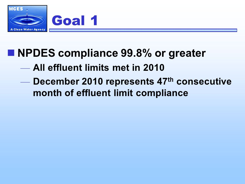 Goal 1 Wastewater Treatment Plant Compliance — Hastings19 years — St.