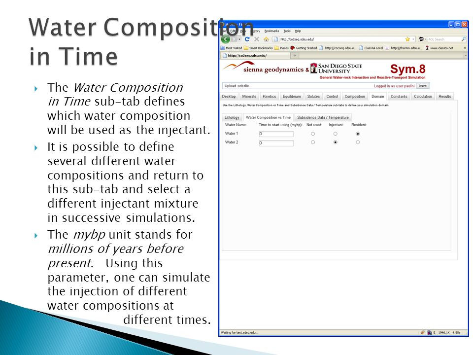  The Water Composition in Time sub-tab defines which water composition will be used as the injectant.  It is possible to define several different wa