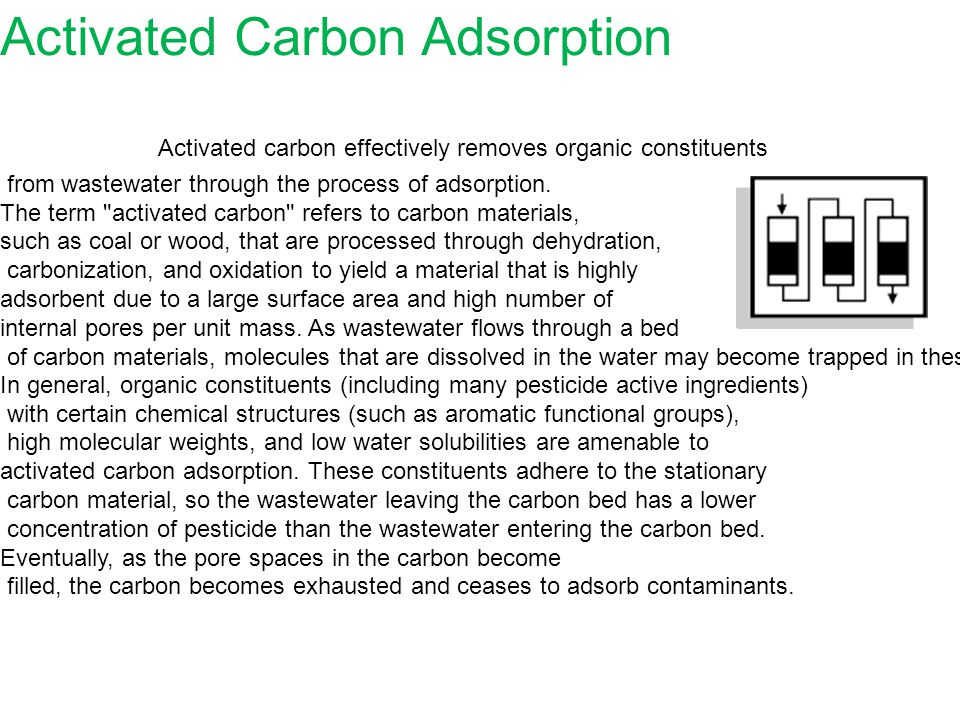 Activated Carbon Adsorption Activated carbon effectively removes organic constituents from wastewater through the process of adsorption.