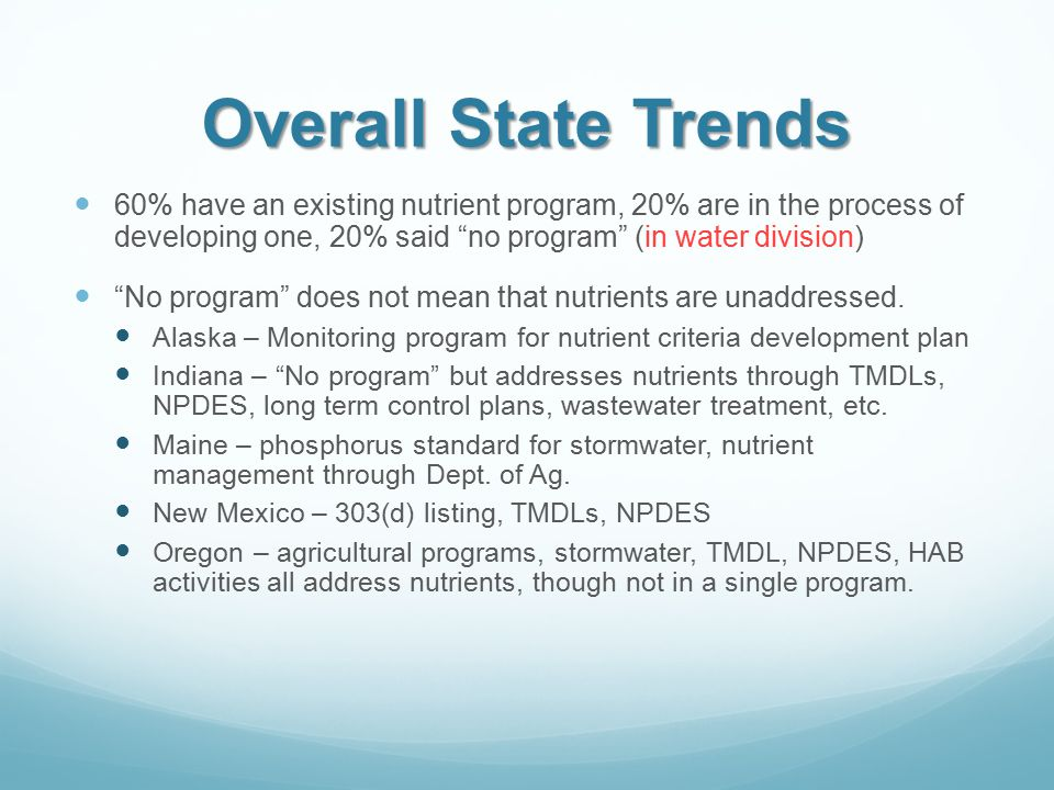 Overall State Trends 60% have an existing nutrient program, 20% are in the process of developing one, 20% said no program (in water division) No program does not mean that nutrients are unaddressed.