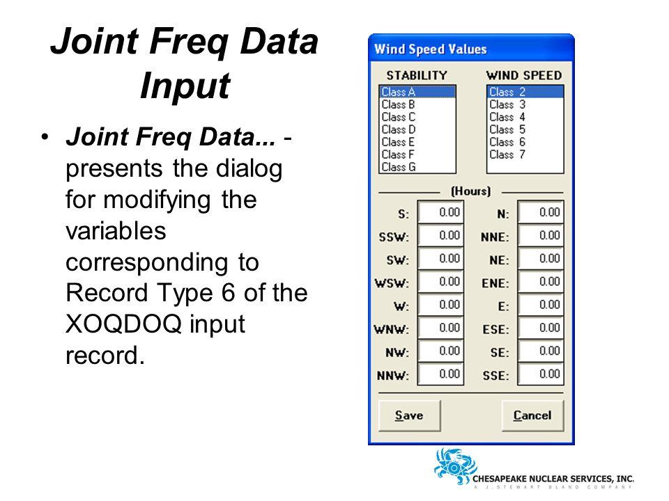 Joint Freq Data Input Joint Freq Data...