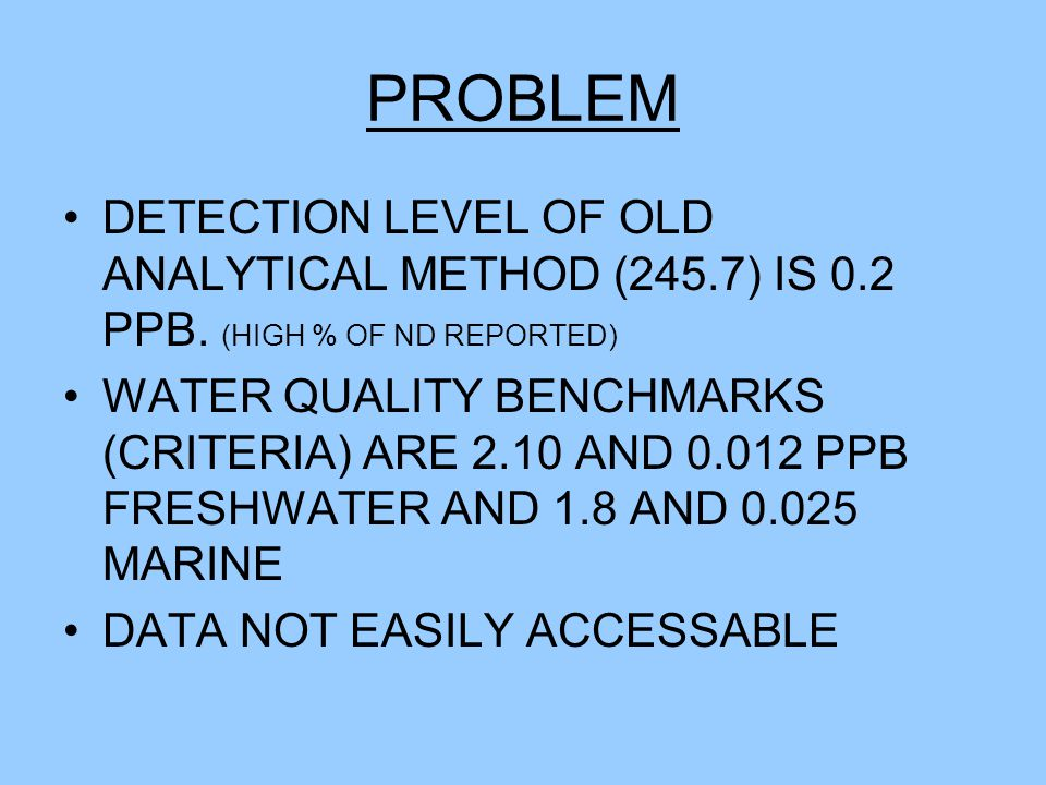 NEW MERCURY METHOD EPA METHOD 1631E LOWER DETECTION LEVEL 0.0002 PPB OR 0.2 NG/L ANALYTICAL COSTS 2X ($100 VS $45)