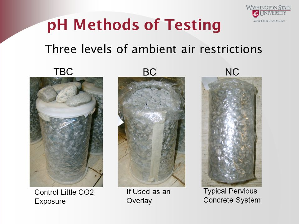 pH Methods of Testing Three levels of ambient air restrictions TBC BC NC Control Little CO2 Exposure If Used as an Overlay Typical Pervious Concrete S