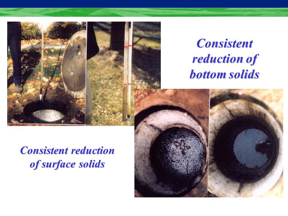 Consistent reduction of surface solids Consistent reduction of bottom solids