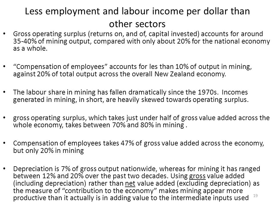 Less employment and labour income per dollar than other sectors Gross operating surplus (returns on, and of, capital invested) accounts for around 35-40% of mining output, compared with only about 20% for the national economy as a whole.
