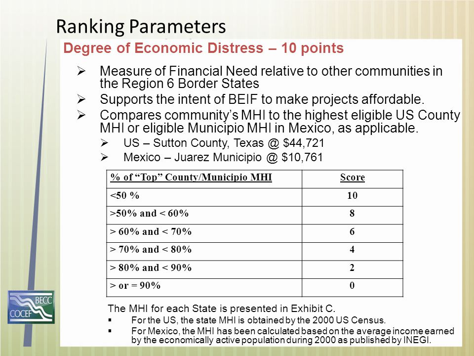 Ranking Parameters Degree of Economic Distress – 10 points  Measure of Financial Need relative to other communities in the Region 6 Border States  S