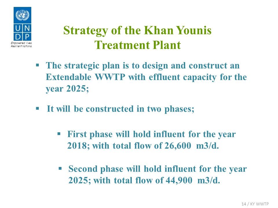  The strategic plan is to design and construct an Extendable WWTP with effluent capacity for the year 2025;  It will be constructed in two phases;  First phase will hold influent for the year 2018; with total flow of 26,600 m3/d.