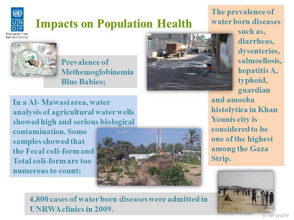 Impacts on Population Health In a Al- Mawasi area, water analysis of agricultural water wells showed high and serious biological contamination.
