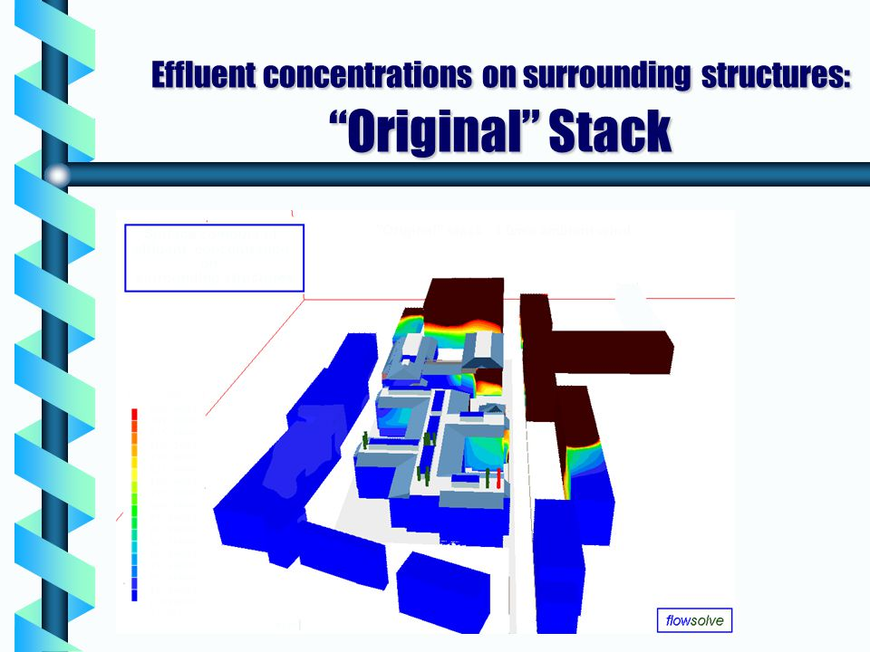 Effluent concentrations on surrounding structures: Original Stack