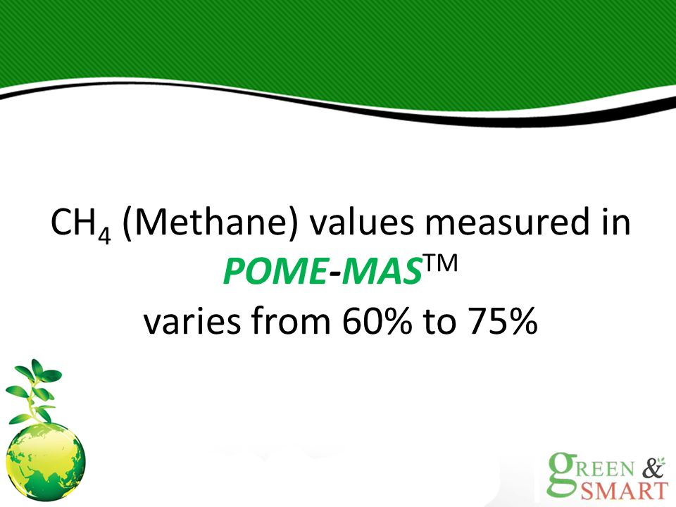 CH 4 (Methane) values measured in POME-MAS TM varies from 60% to 75%
